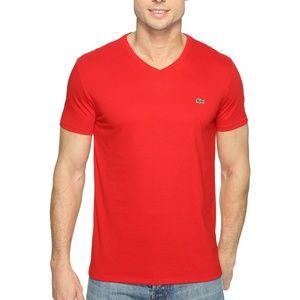Lacoste Men's Red Pima Jersey V-Neck T-Shirt